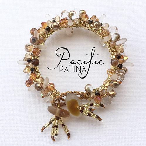 """Geode Style"" Sea Glass Button Bracelet"