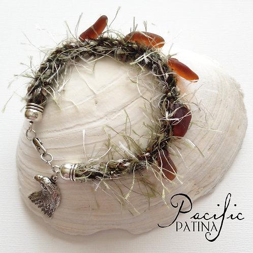Snowy Pine Tree Bracelet with Sea Glass Pine Cones