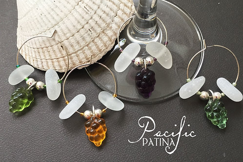 Sea Glass Wine Charms - White & Czech Grapes