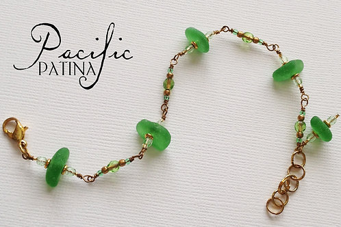 Kelly Green Sea Glass Bracelet