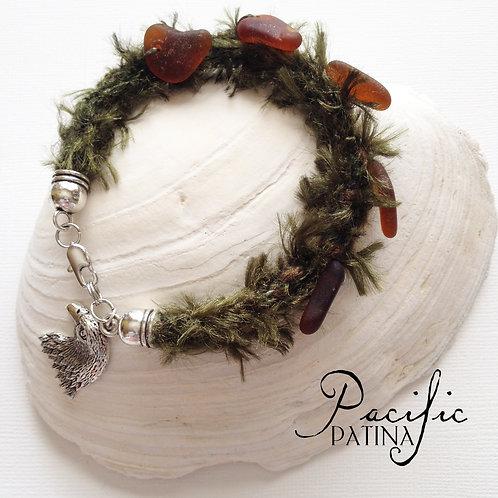 Pine Tree Bracelet with Sea Glass Pine Cones