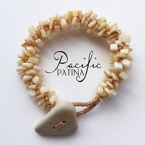 Sea Pottery Button & Gemstone Bracelet