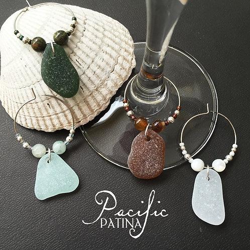 Sea Glass Wine Charms - Sampler Colors & Gemstones