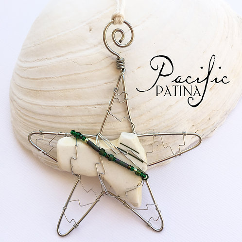 Sea Pottery Kodiak Sea Star - Green Lines & Beads