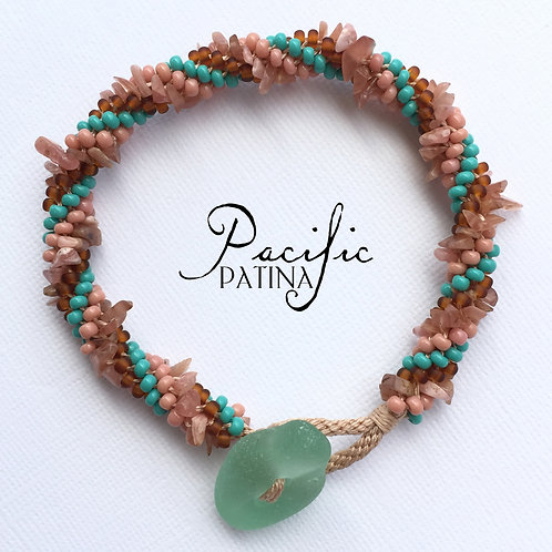 Sea Glass Button & Gemstone Bracelet