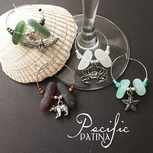 Sea Glass Wine Charms - Sampler Colors & Animals