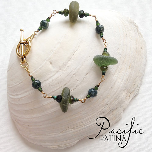 Deep Forest Green Sea Glass Bracelet