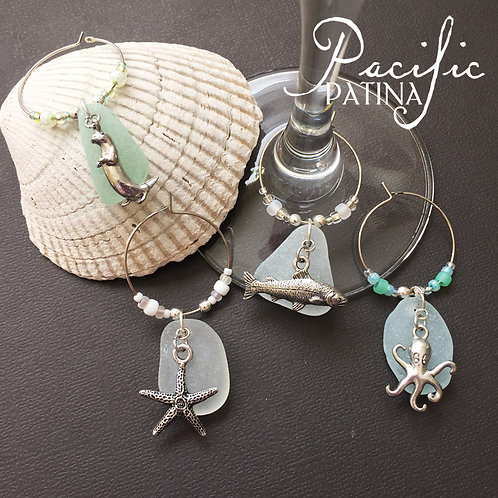 Sea Glass Wine Charms - Ocean Theme & Colors