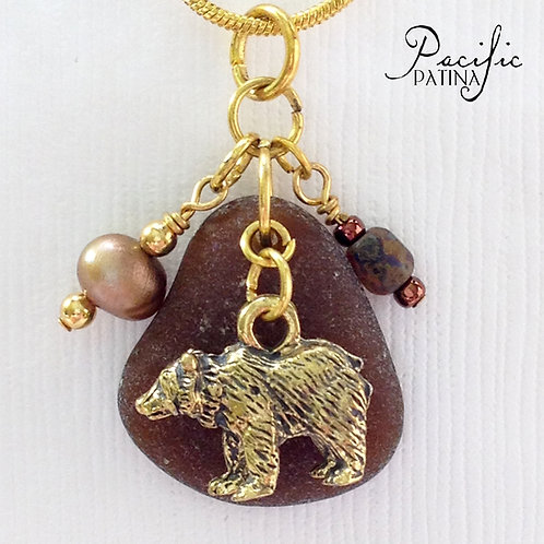 Brown Sea Glass Cluster Pendant - Bear