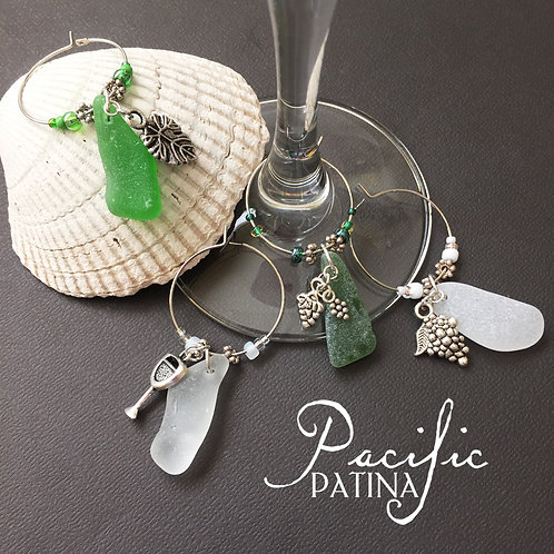 Sea Glass Wine Themed Charms - White & Green