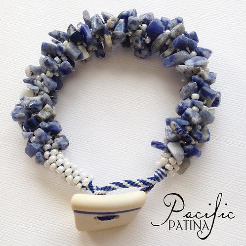 WWII USN Sea Pottery Button & Gemstone Bracelet