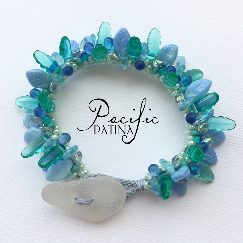 Sea Glass Button Bracelet