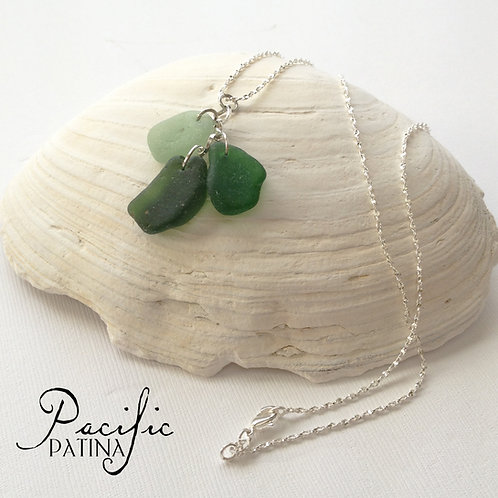 Shades of Green Sea Glass Cluster Pendant