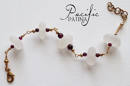 White Sea Glass Bracelet with Garnet