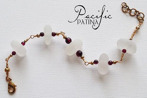 White Sea Glass Bracelet with Garnet