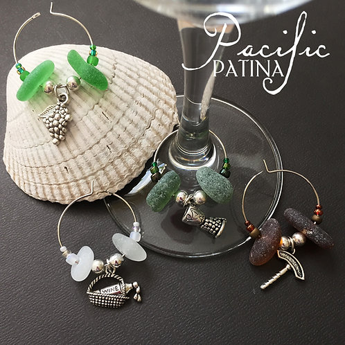 Sea Glass Wine Theme Charms - White, Brown & Green
