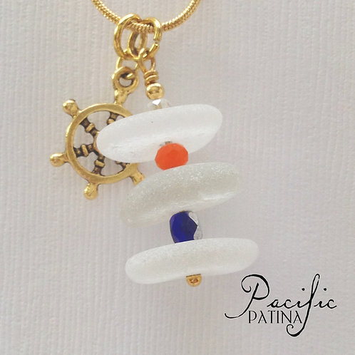 3 Piece White Sea Glass Stack - CG Colors & Wheel