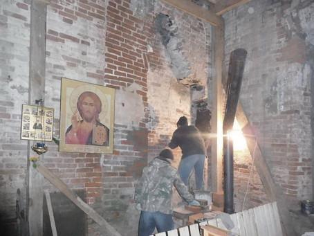Восстановление Знаменского храма с. Ивановское. Декабрь 2019 часть 2