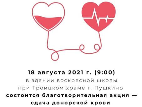 Приглашаем на акцию сдачи донорской крови для детей