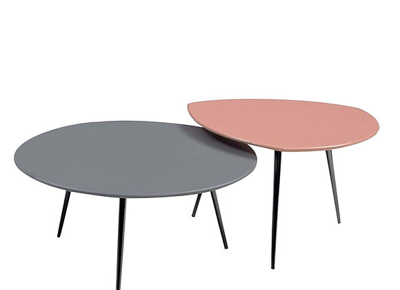Set Of 2 Cinquanta  Grey-Pink Coffee  Tables by Bodema