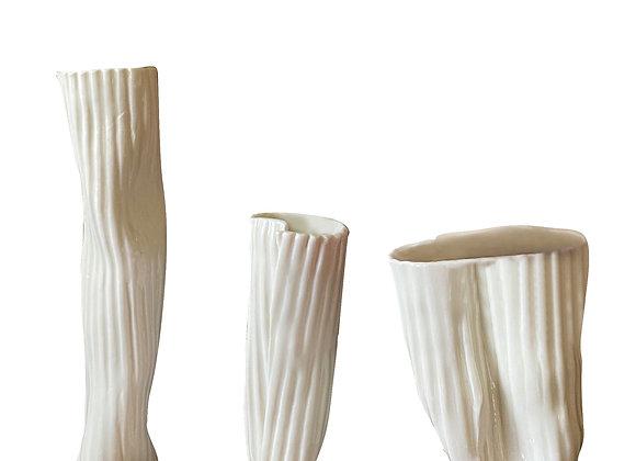 Set of 3 Ribbed Porcelain Vases by White Porcelain Florence