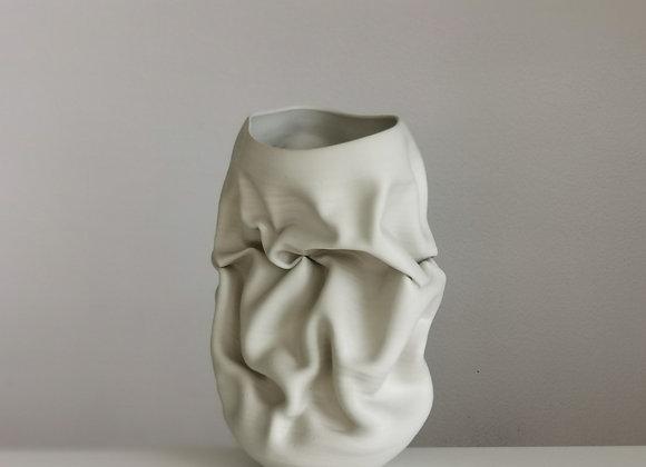 Ceramic Sculpture Vessel, N. 50 White Crumpled Form by Nicholas Arroyave Portela