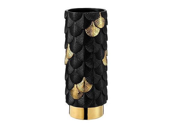 Black Plumage Vase with 24K Gold by Botteganove