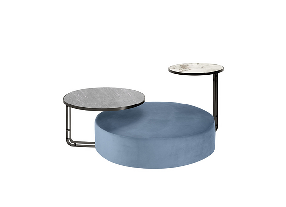 Febe Set of Azure Pouf and Two Small Tables by Domingo Salotti