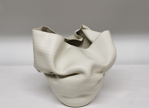 Small white contorted flared form No.48 by Nicholas Arroyave Portela