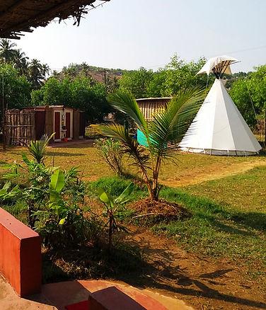tipi garden affordable luxury yoga holidays retreats resort rooms kudle beach gokarna india www.blueplanetretreats.com
