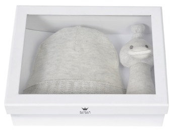 Giftbox Knitted Hat and Duck Rattle