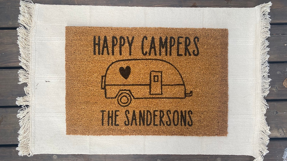Happy Campers - personalized Doormat