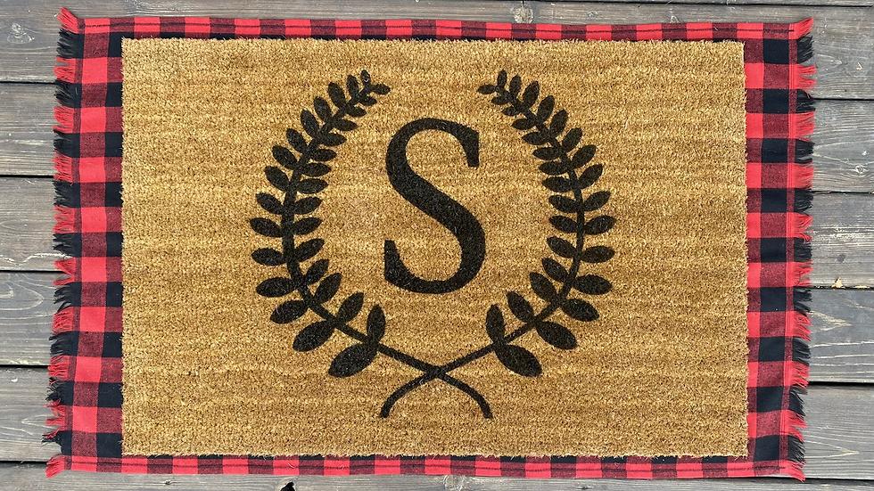 Monogrammed Wreath Doormat