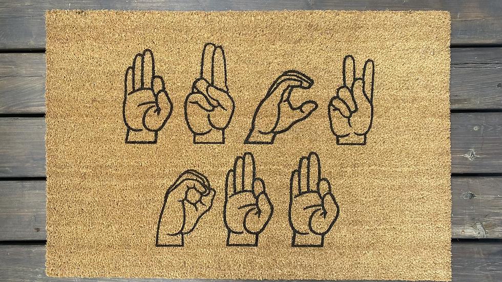 Rude Sign Language Doormat