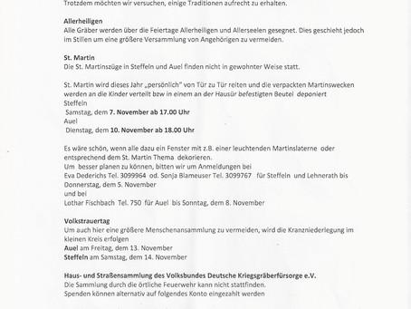 Veranstaltungen in Corona-Zeiten im November