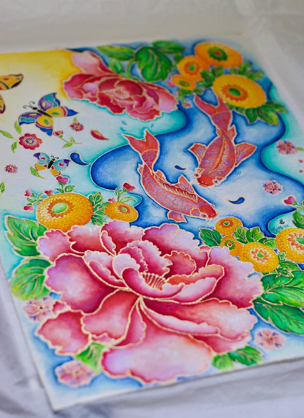 Peony Watercolour Mishell Leong
