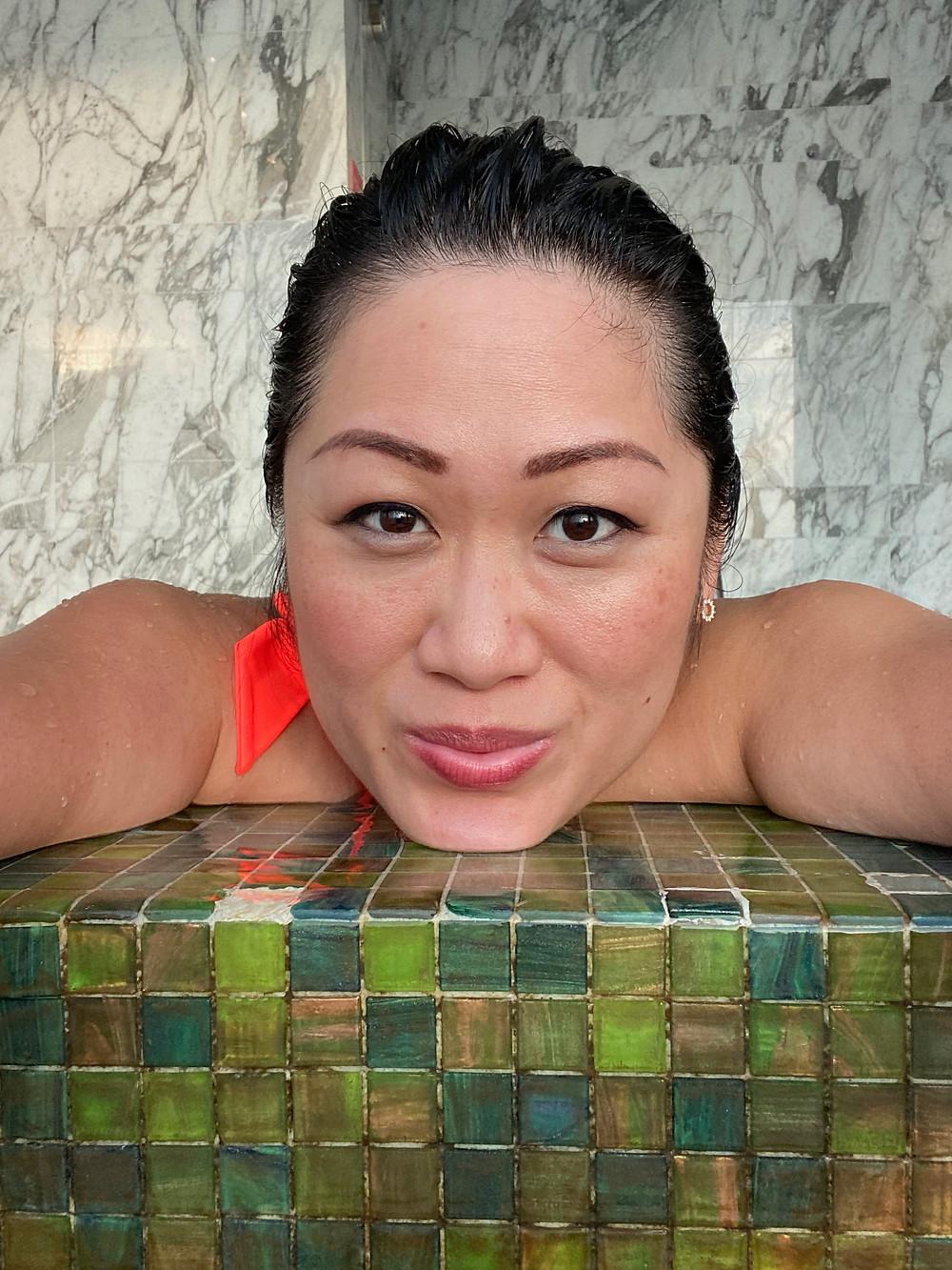 Mishell enjoying Hot Tub on Staycation in Westin Singapore