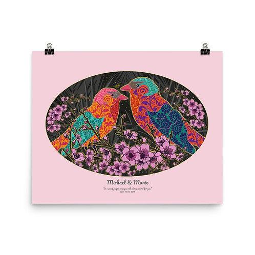 Plagát - obraz pre pár Slávik v ružovej