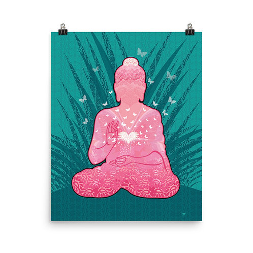 Photopaper Poster - Housewarming Gift - Buddha Heart Pink