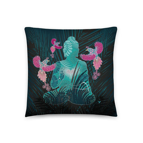 Home decor Cushion - Buddha Birds Black