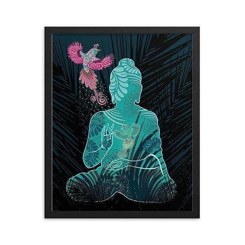 Framed Poster - Housewarming Gift - Buddha Fenix White