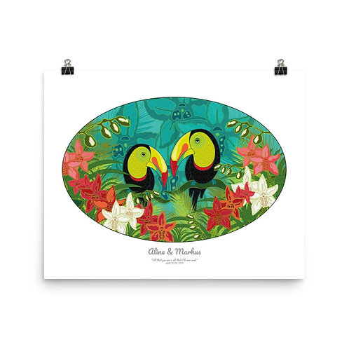 Photopaper Wedding Poster- Toucans White