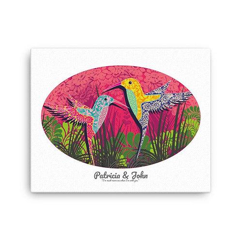 Canvas Print - Wedding Poster - Hummingbird White