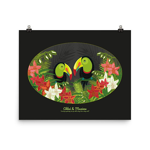 Photopaper Wedding Poster- Toucans Black