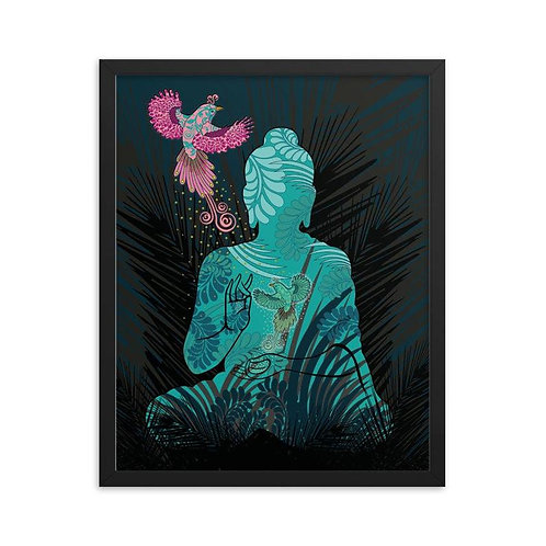 Framed Poster - Housewarming Gift - Buddha Fenix Black