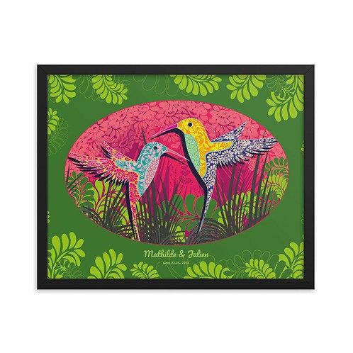 Framed Wedding Poster - Hummingbird Green