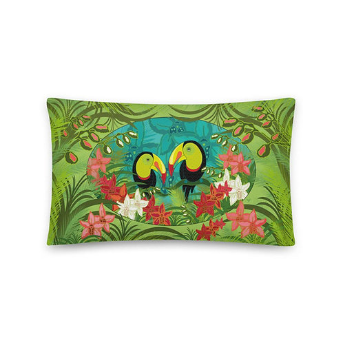 Wedding Pillow - Toucans Green