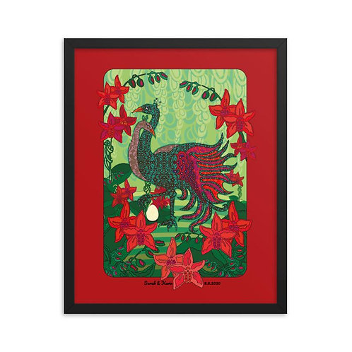 Framed Wedding Poster - Peacock Red