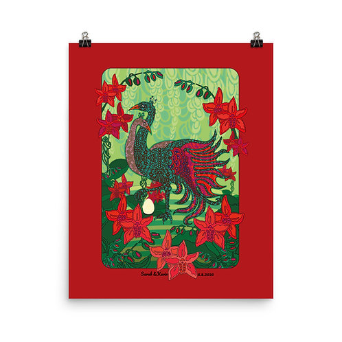 Photopaper Wedding Poster - Peacock Red