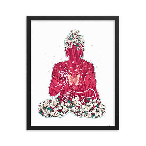 Framed Poster - Housewarming Gift - Buddha Flowers